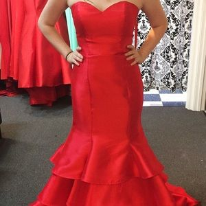 Red mermaid styled long prom dress!